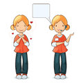 Girl speaking headset speech bubble girl love Royalty Free Stock Photo