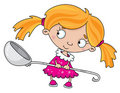 Girl with a spoon Stock Photo
