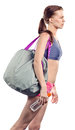 Girl with sport bag Stock Photo