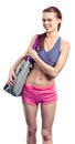 Girl with sport bag Royalty Free Stock Photography