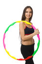 A girl in sport suit with hula hoop Royalty Free Stock Photo