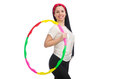 The a girl in sport suit with hula hoop isolated Royalty Free Stock Photo