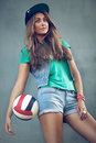 Girl sports style dressed in an urban Stock Image