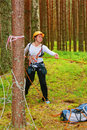 The girl-sportswoman pulls a rope Stock Images