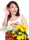 Girl with  spring flower and hand near ear. Royalty Free Stock Photos