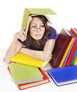 Girl with stack color book . Royalty Free Stock Photography