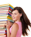 Girl with stack colored book. Royalty Free Stock Photo