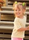 Girl on stadium tribunes Royalty Free Stock Photography