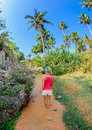 Girl standing in the fairy stream in mui ne vietnam a orange water of Stock Image