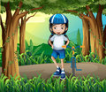 A girl standing beside her bike in the middle of the jungle illustration Royalty Free Stock Photography
