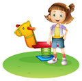A girl standing beside a horse spring toy illustration of on white background Royalty Free Stock Photo