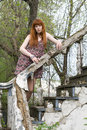 Girl standing on old stairs Royalty Free Stock Photos