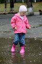 Girl standing in puddles at autumn Stock Images