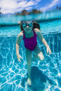 Girl Standing Underwater Royalty Free Stock Photo