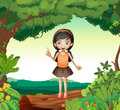 A girl standing on wood in nature illustration of Stock Photo