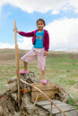 A girl stands in the Kazakh steppe Royalty Free Stock Image