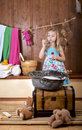 Girl starts up soap bubbles nice little Royalty Free Stock Photo