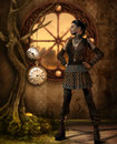 Girl in steampunk outfit rendering of a Stock Image