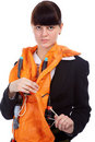 Girl in stewardess uniform Royalty Free Stock Images