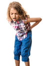 Girl stomach pain posture of little child standing with both hands on belly hurt grimace on face isolated on white Stock Image