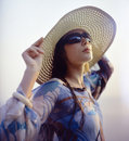 Girl in straw hat Royalty Free Stock Photo