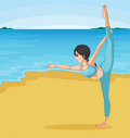 A girl stretching at the beach illustration of Stock Photo
