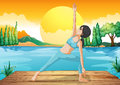 A girl stretching near the river illustration of Royalty Free Stock Photos