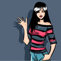 Girl in stripy shirt the young smiling elegant brunette dressed jeans and Royalty Free Stock Image