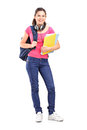 Girl student with headphones Stock Image