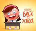 Girl student vector character in realistic 3D sitting in a desk