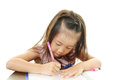 Girl studying asian school on white background Stock Images
