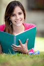 Girl studying outdoors Royalty Free Stock Photo