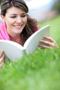 Girl studying outdoors Stock Images