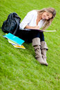 Girl studying at the park Stock Photos