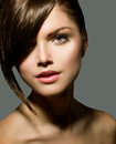 Girl with stylish fringe teenage short hair style Stock Image