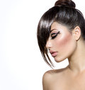 Girl with stylish hairstyle fashion glamour beauty and makeup Royalty Free Stock Photos