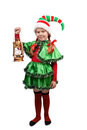 Girl in suit of christmas elf with lamp on white oil isolated a background Royalty Free Stock Image