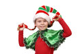 Girl in suit of christmas elf on a white isolated Royalty Free Stock Image