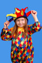 The girl in a suit of the clown Royalty Free Stock Photos