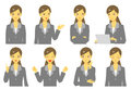 Girl in suit expressions set explaining and thinking smiling Stock Photo