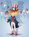 Girl in a suit of Uncle Sam Celebrates 4th July Stock Photography