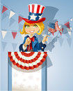Girl in a suit of Uncle Sam stands on the podium Royalty Free Stock Images
