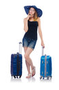Girl with suitcases isolated on white Stock Photos