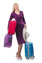 Girl with suitcases isolated on white Stock Photography