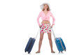 Girl with suitcases isolated on white Royalty Free Stock Image