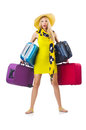 Girl with suitcases isolated on white Stock Images
