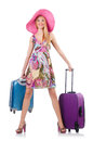 Girl with suitcases isolated on white Royalty Free Stock Photos