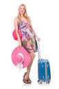 Girl with suitcases isolated on white Royalty Free Stock Photo