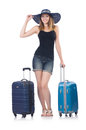 Girl with suitcases isolated on white Royalty Free Stock Photography