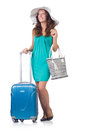 Girl with suitcases isolated on white Stock Photo
